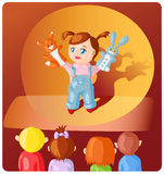 Girl with hand puppets Stock Photos