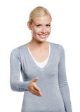 Girl hand shake gesturing Royalty Free Stock Photography
