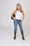 Girl with handbag Royalty Free Stock Photography