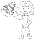 Girl with a handbag coloring page Royalty Free Stock Images