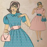 Girl with handbag in retro style. Vector illustration vector illustration