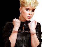 Girl handcuffed Stock Photos