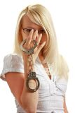 Girl with handcuffs Stock Photo