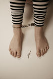 Girl in handcuffs. Girl wearing handcuffs with the keys on the floor stock images