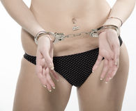 Girl with handcuffs Stock Photos