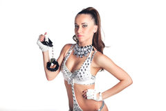 Girl with handcuffs. Royalty Free Stock Photography