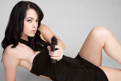 Girl With Handgun Stock Photos