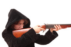 The Girl with handgun Stock Photography