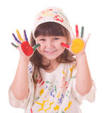 Girl with hands in the color paint Royalty Free Stock Photography