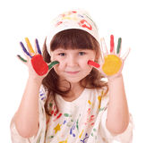 Girl with hands in the color paint Stock Photo