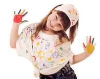 Girl with hands in the color paint Royalty Free Stock Image