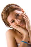 Girl with hands on face Stock Photo