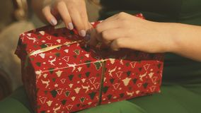 Girl hands Giving Gift Box stock footage