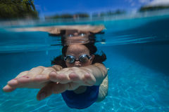 Girl Hands Goggles Underwater Stock Photography