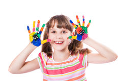 Girl with hands in paint Royalty Free Stock Images