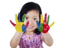Girl with hands painted in colorful Royalty Free Stock Images