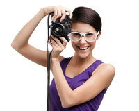 Girl hands professional photographic camera Royalty Free Stock Photo