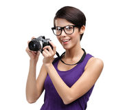 Girl hands retro photographic camera Stock Images