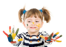Girl with hands soiled in a paint. Stock Image