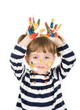 Girl with hands soiled in a paint. Royalty Free Stock Photo