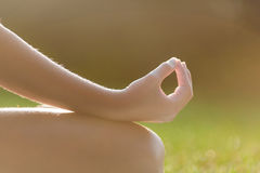 Girl hands in yoga meditation pose Royalty Free Stock Photography