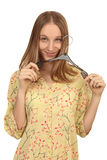 Girl with hanger Stock Photos
