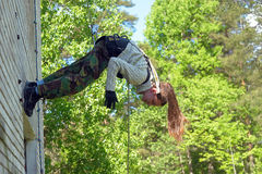 Girl hanging in the air Royalty Free Stock Images