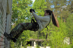 Girl hanging in the air Stock Images