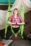 Girl, hanging in a hammock for yoga Royalty Free Stock Photos