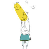 Girl hangs a star. Girl with stars for your print Stock Images