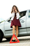 Girl happened a traffic accident Stock Images