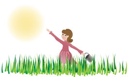 Girl happily walking through meadow, reaching for the sun Stock Image