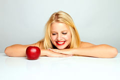 Girl Happy About An Apple Stock Photo