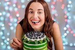 Girl with happy birthday cake Royalty Free Stock Photo