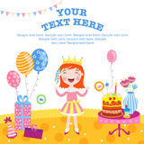 Girl happy birthday gifts. Little princess happy birthday gifts. With space for text stock illustration