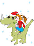 Girl happy dino Royalty Free Stock Images