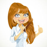 Girl happy and easy combing obedient  hair Stock Photography