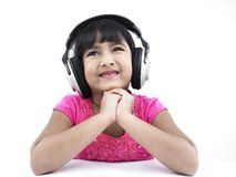 Girl happy about her headphones stock photos