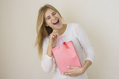 Girl is happy about her sales purchase Royalty Free Stock Image