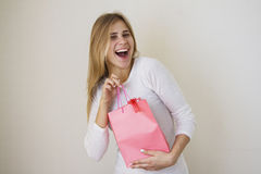 Girl is happy about her sales purchase 1 Stock Photo