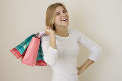 Girl is happy about her sales purchase 3 Royalty Free Stock Images