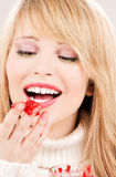 girl happy jam raspberry teenage Стоковое фото RF
