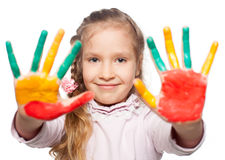Girl happy with painted palms Royalty Free Stock Images