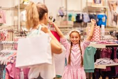 Girl is happy shopping royalty free stock image