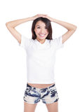 Girl happy smile show white T-Shirt stock images
