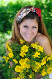 Girl happy and Smiling with daisies Royalty Free Stock Photography