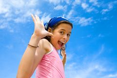 Girl happy in swimming costume Royalty Free Stock Images