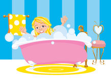 Girl Happy Taking A Bubble Bath Royalty Free Stock Photos