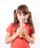 Girl happy to drink fresh juice Stock Image