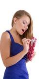 Girl  happy unpacks Christmas gift Stock Images